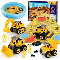 YIDESTARS Play Construction Sand Kit,2.2lbs Sand W/ 4 Large Take Apart Construction Vehicles,13 in 1 Play Sand Toys for…