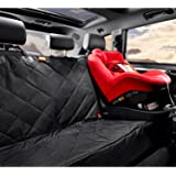 """Gudaco Premium Pet Car Seat Cover - WaterProof Dog Car Seat Cover for Cars, Trucks & SUVs, Use as Car Hammock or Back Seat Cover for Dogs - Nonslip Backing, 54""""W x 58""""L, Black (Dog Safety Belt in Set)"""
