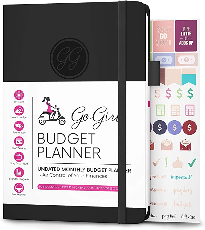 "Amazon.com : GoGirl Budget Planner - Monthly Financial Planner Organizer Budget Book. Expense Tracker Notebook Journal to Control Your Money. Undated - Start Any Time, 5.3"" x 7.7"", Lasts 1 Year - Black : Office Products"