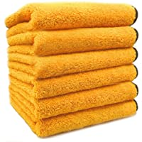 SoLiD 6 Pack Multipurpose Plush Microfiber Edgeless Cleaning Towel for Household and Car Washing, Drying, Detailing