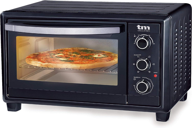 TM Electron TMPHO023 Horno de Convección de Sobremesa 23 litros, 1500W, 6 Modos de Cocina, Temperatura Ajustable hasta 230º, Especial para Pan, Pizza y Asar, 1500 W, Negro