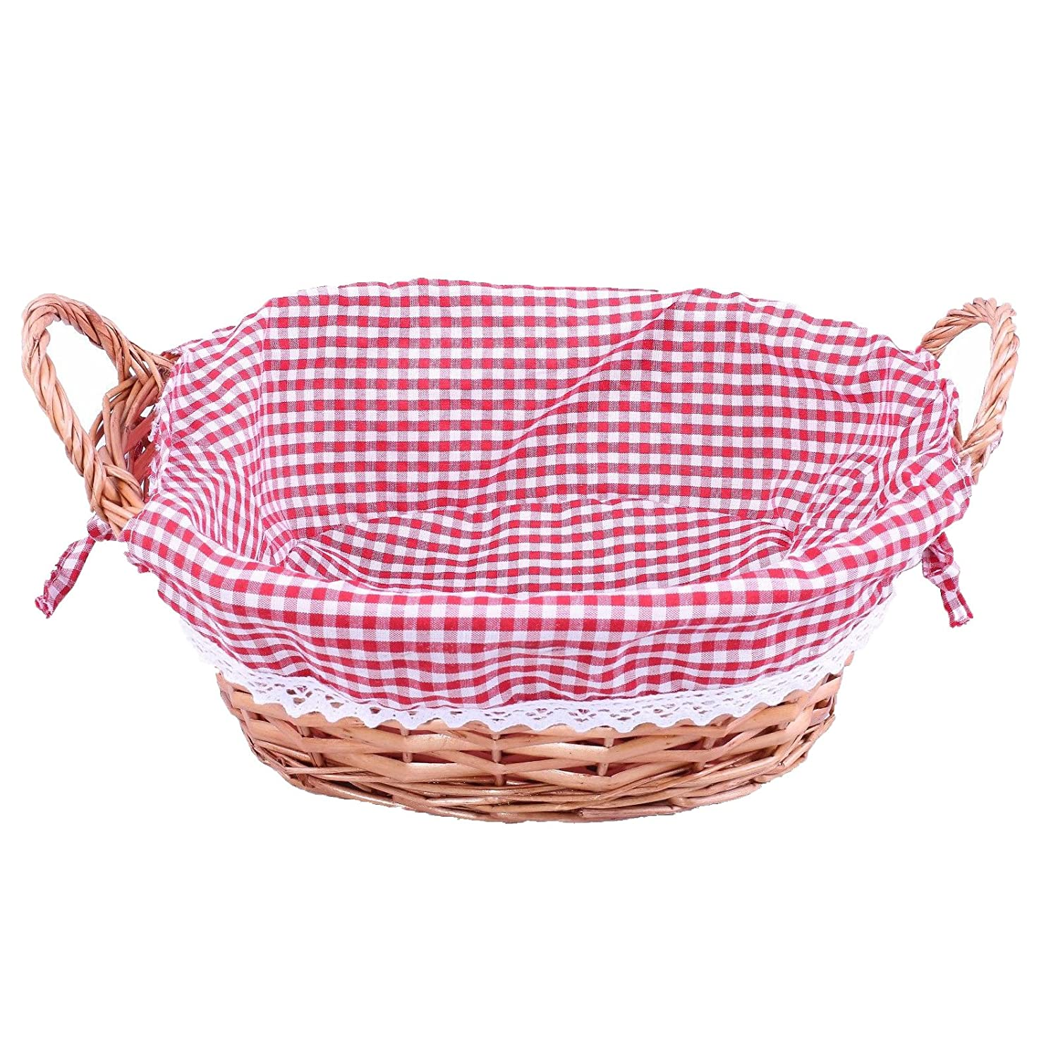 Basic House Ltd Traditional Bread Wicker Basket Gift Hampers Collection Storage Display Red Line (1 pcs)