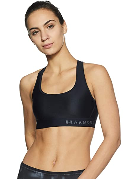 san francisco 43362 f91a2 Under Armour Women s Armour Mid Crossback Sports Bra, Black (001) Graphite,
