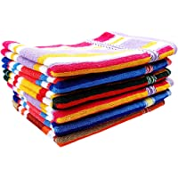 Space Fly Cotton Striped High Absorbent Hand Towels (11X 17-inch, Multicolour) -Set of 6