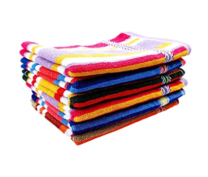 Space Fly Striped High Absrobent Cotton Hand Towels (12X 18 inch, Multicolour) -Set of 6