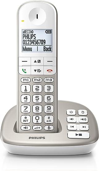 Teléfono Inalámbrico PHILIPS XL4951S/05 Plata y Blanco, con Contestador: Amazon.es: Electrónica