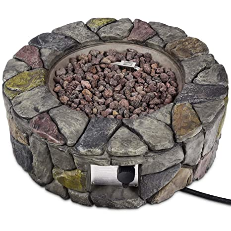 Amazon.com : Asher Amada 28'' Propane Gas Fire Pit Outdoor 40, 000 BTUs  Stone Finish Lava Rocks Cover : Garden & Outdoor - Amazon.com : Asher Amada 28'' Propane Gas Fire Pit Outdoor 40, 000