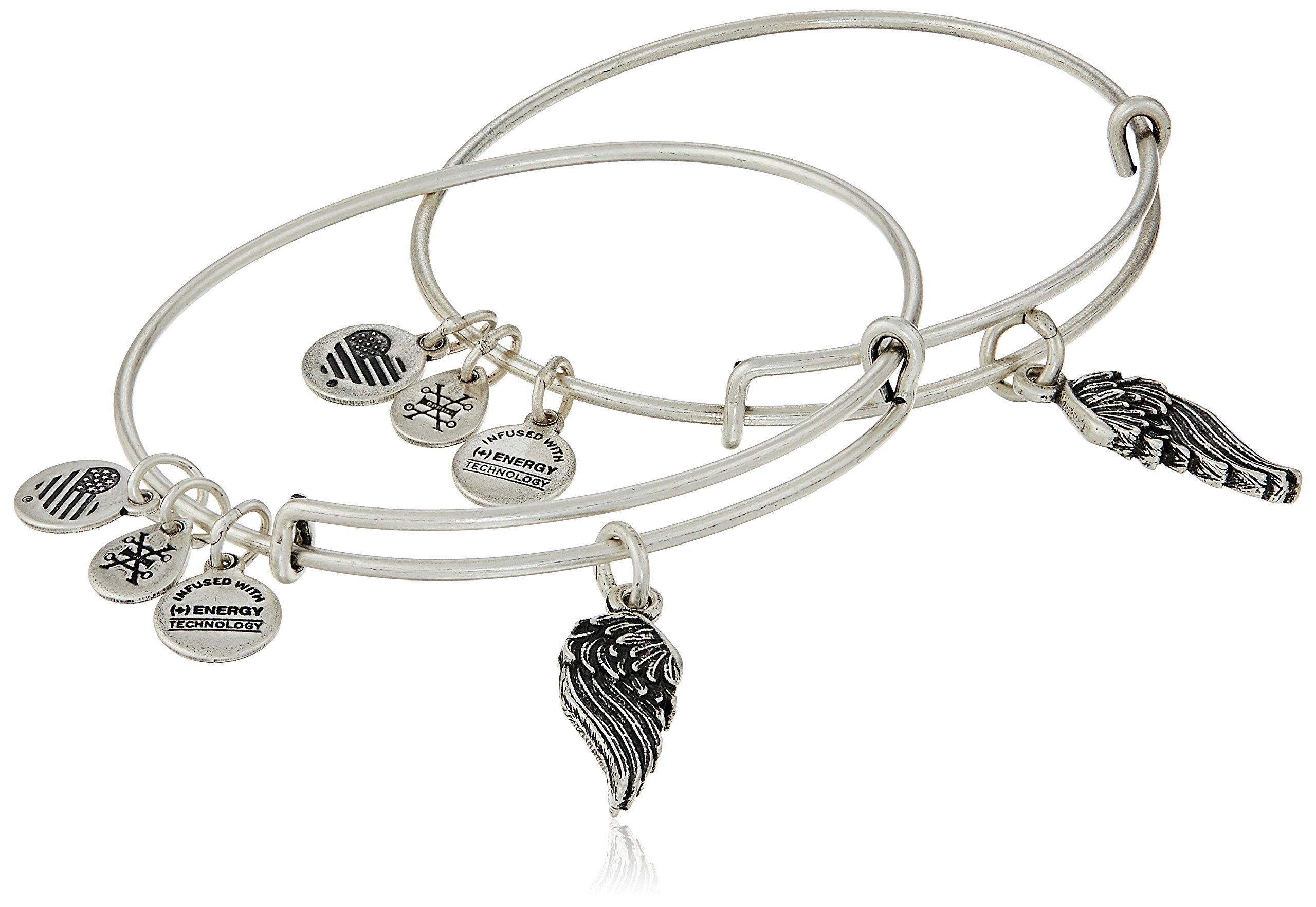 Alex and Ani ''Path of Symbols'' Wings Set of 2 Silver Expandable Wire Bangle Charm Bracelet by Alex and Ani