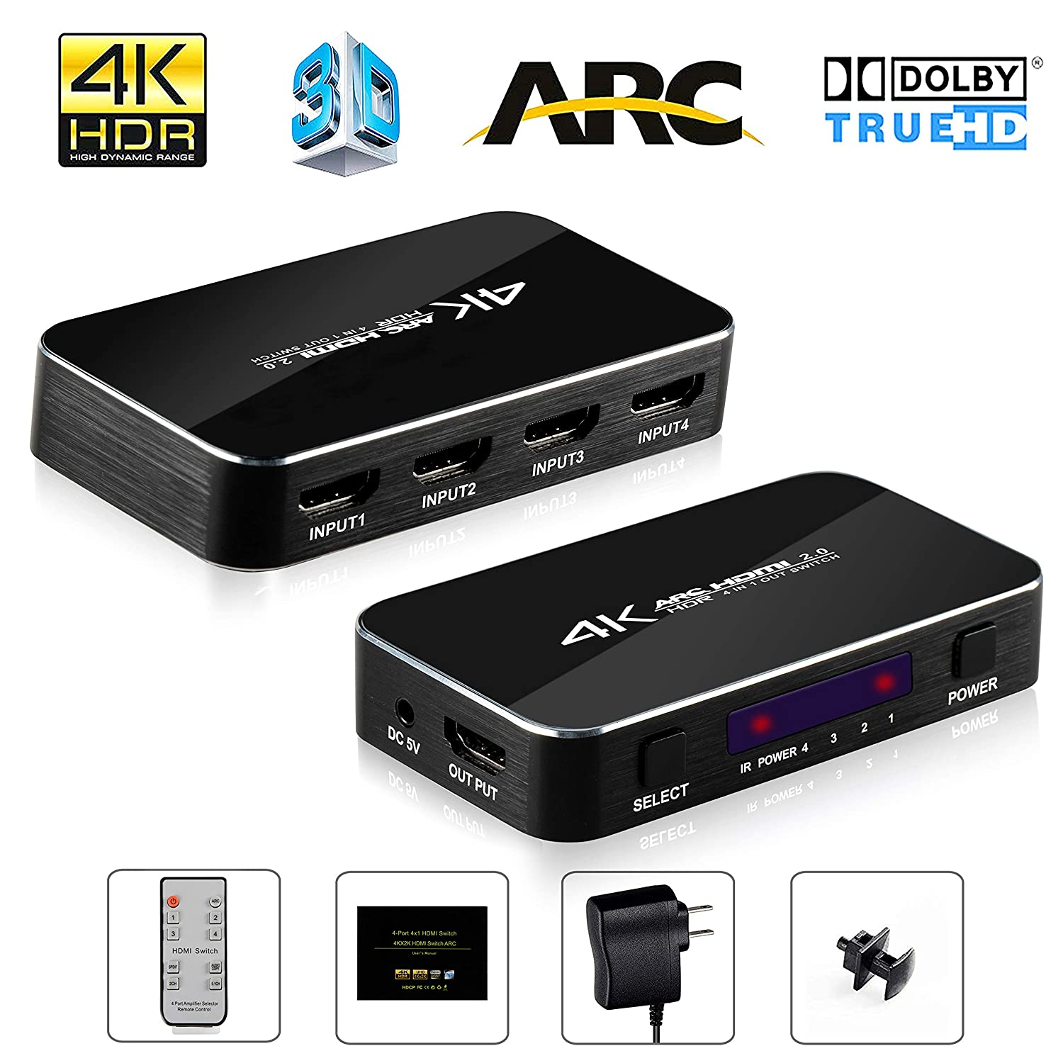 HDMI Switch 4x1 4K@60Hz, NEWPOWER 4 In 1 Out HDMI Switch with IR Wireless  Remote and Audio Out, Max Bandwidth of 18Gbps, Support PS4/ Blu-ray DVD PC/