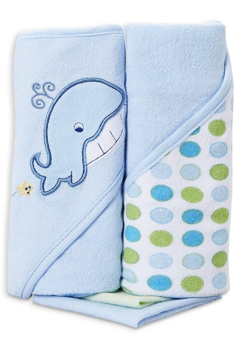Spasilk Hooded Terry Bath Towel with Washcloths, Butterfly Pink, 2-Count HT 2PC 07