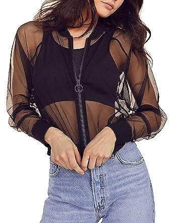 c4650c0c674 Amazon.com  Rupfie Womens Long Sleeve Mesh Sheer Zip up Bomber Jacket  Trench Coat.  Clothing