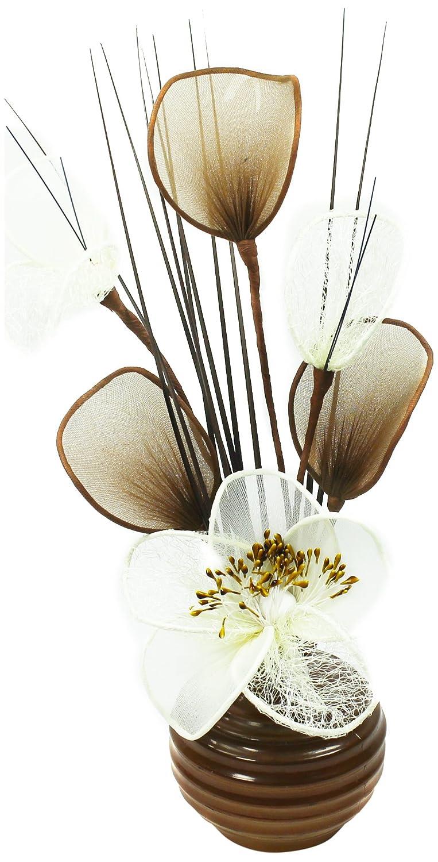 Flourish - Vaso con fiori finti in tessuto, 32 cm, colore: Caffè/crema Flourish Creative Florals 5055278706111