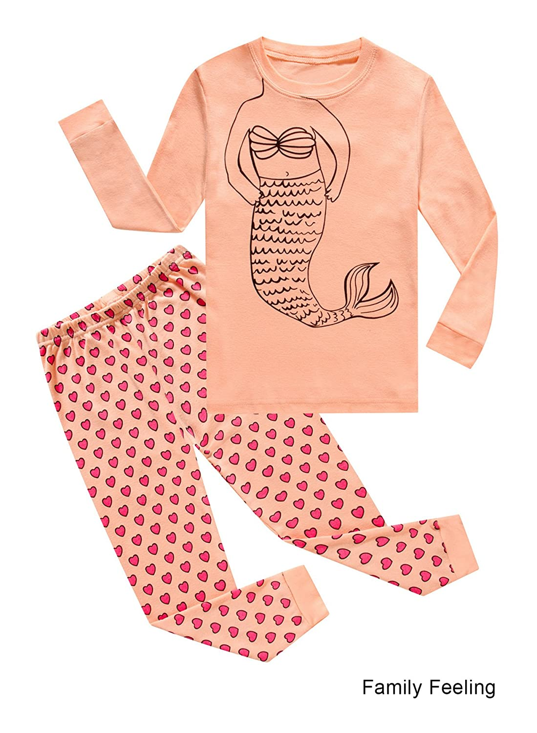 Family Feeling Pajamas for Girls Long Sleeve Pjs 100% Cotton Kids Clothes