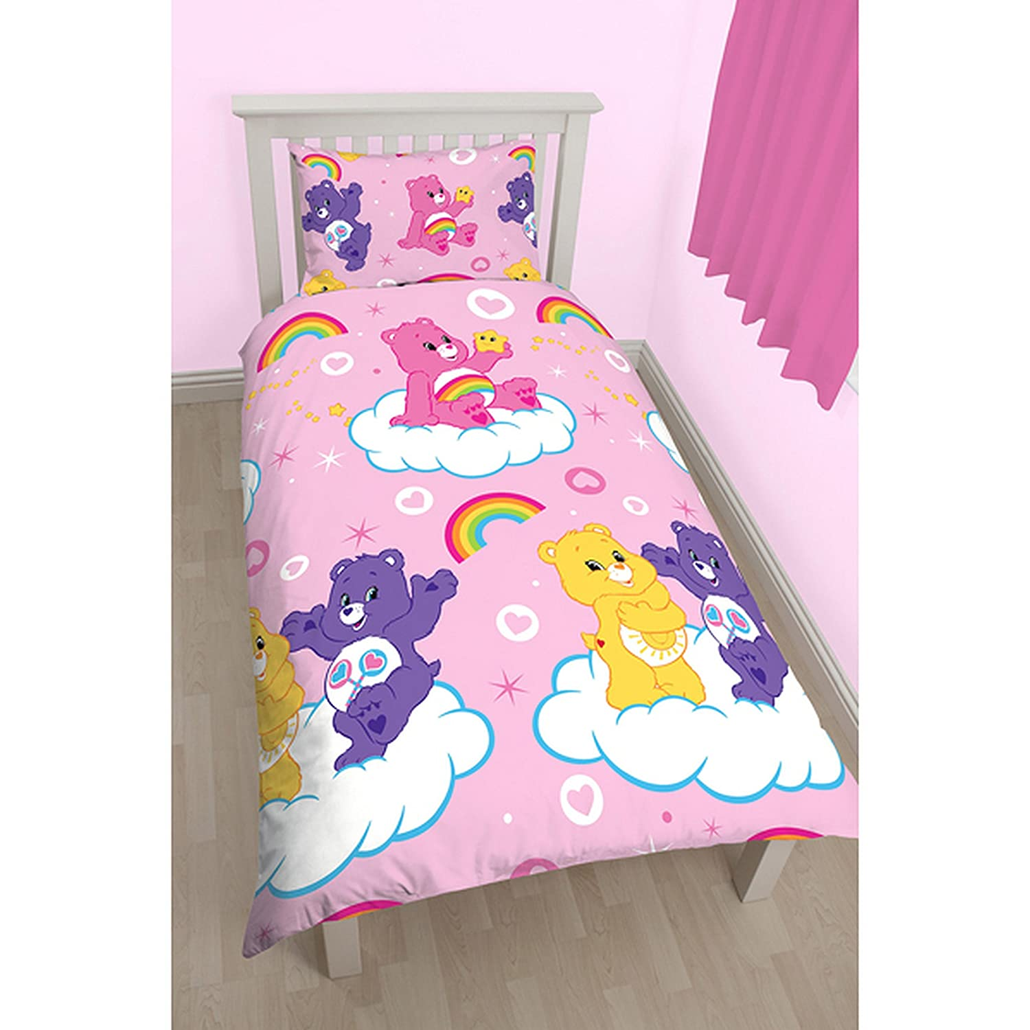 Care Bears 'Share' Single Duvet Set - Repeat Print Design Character World CBSSHRDS002UK1
