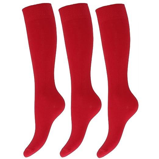 Severyn Calcetines lisos altos hasta la rodilla de uniforme de colegio para niños/niñas (pack de 3): Amazon.es: Ropa y accesorios