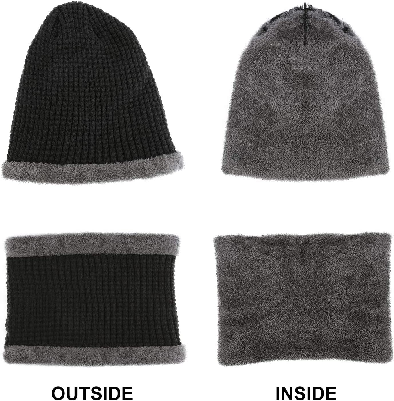 Universal Size TAGVO Winter Knitted Beanie Hat Scarf Set Thick Soft Fleece Inner Lining Great Warm Skiing Cycling Beanie Cap Skull Hat with Elastic Neck Warmer for Adults Mens Womens