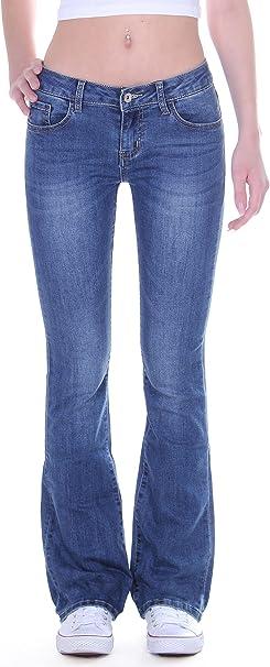 Style Station24 Damen Jeans Bootcut Schlagjeans Hüftjeans in blau
