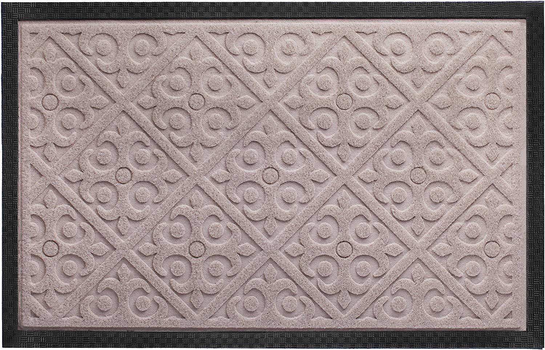 Door Mat Indoor Outdoor Doormats Outside Effective Scraping of Dirt Patio Grass Snow Dust Grit Removal Ideal Low Profile Doormat Front Door Entrance Mat Rug Non Slip Rubber (Beige) 17.5''x 27''
