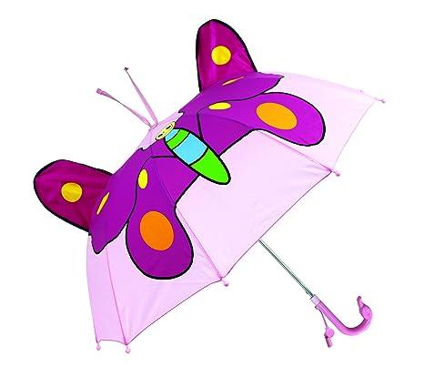 Paraguas largo infantil 3D (Mariposa Rosa)