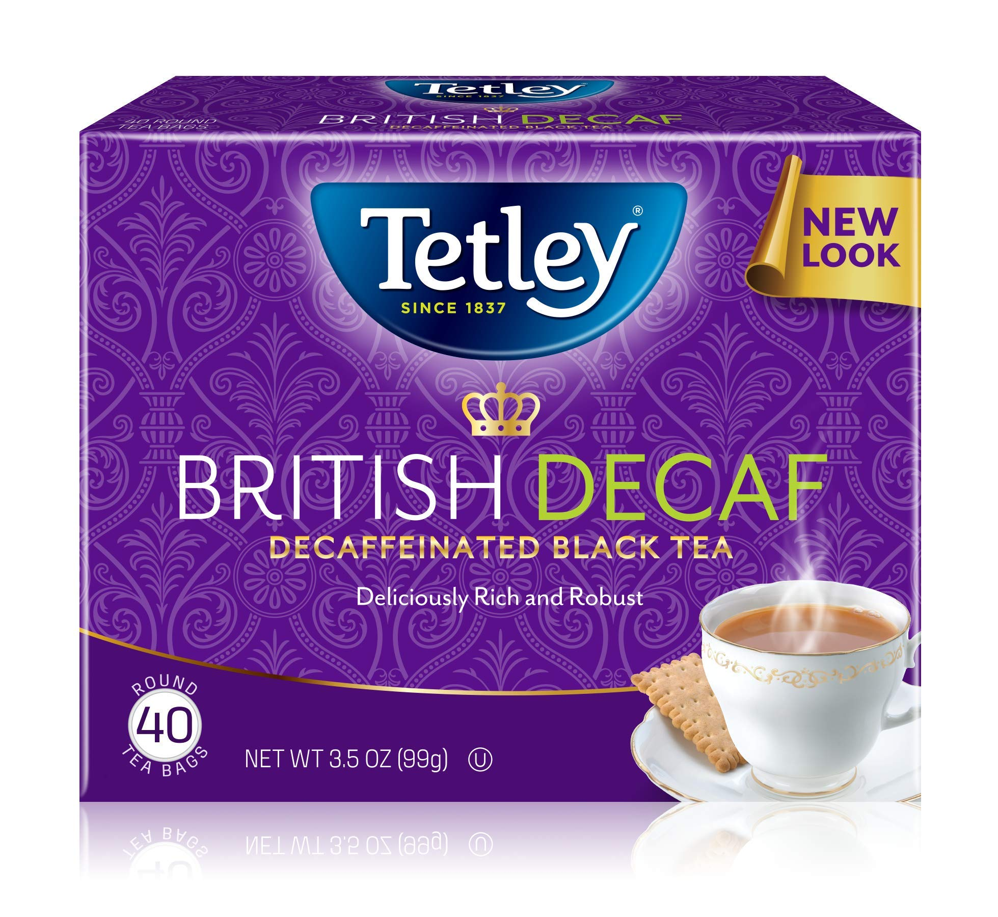Tetley Premium Black Tea, Decaffeinated British Blend, 40 Tea Bags (Pack of 6) by Tetley