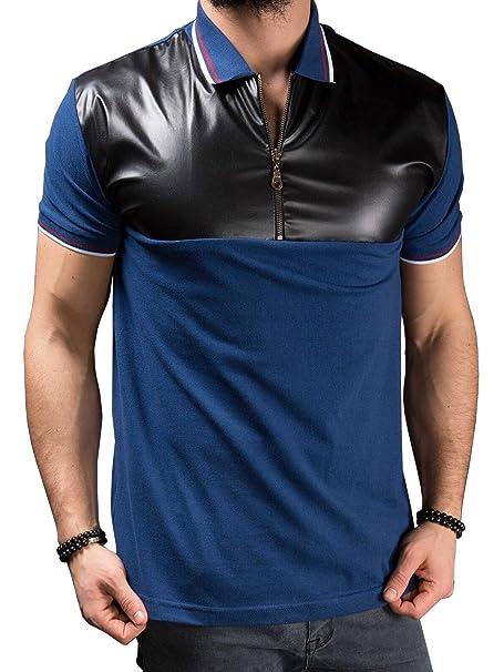 e40db812d0ce fanideaz Men s Half Sleeve Half Zipper Contrast Leather Polo T Shirt   Amazon.in  Clothing   Accessories