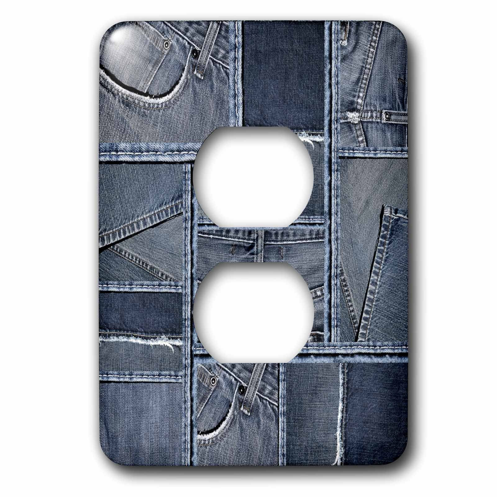 3dRose Andrea Haase Allover Pattern - Blue Denim Patchwork Pattern - Light Switch Covers - 2 plug outlet cover (lsp_268405_6)