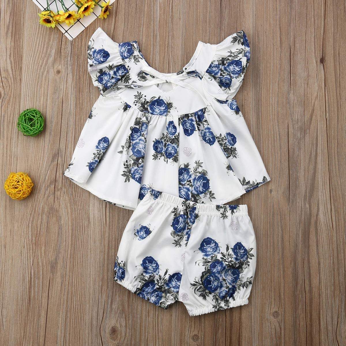Infant Bottom Newborn Sets for 0-3years 2Pcs Toddler Girl Floral Ruffle Tutu Sleeveless Baby Top