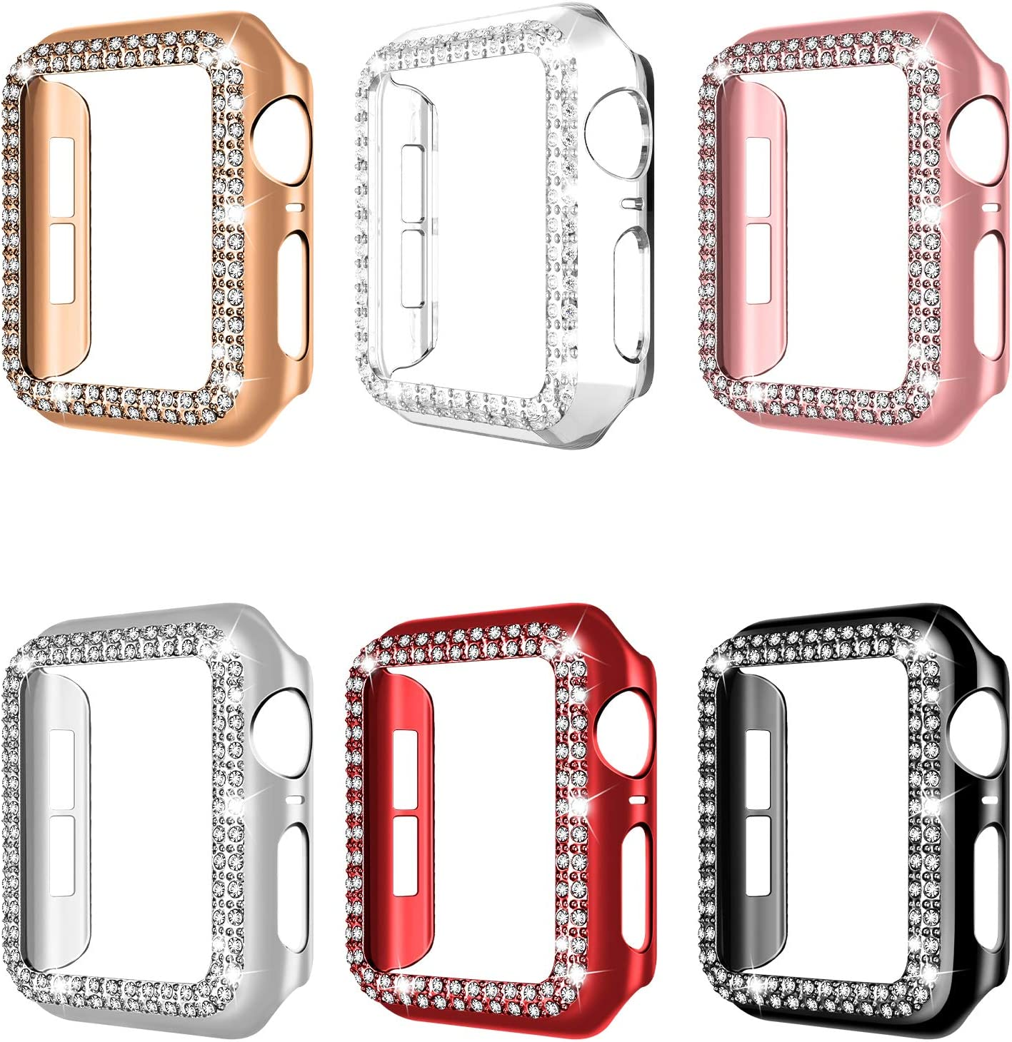 adepoy 6 Pack Apple Watch Case 40mm Series 6/5/4 SE Bling Rhinestone Apple Watch Protective Case Bumper Frame Screen Protector Case Cover for iWatch Series 40mm