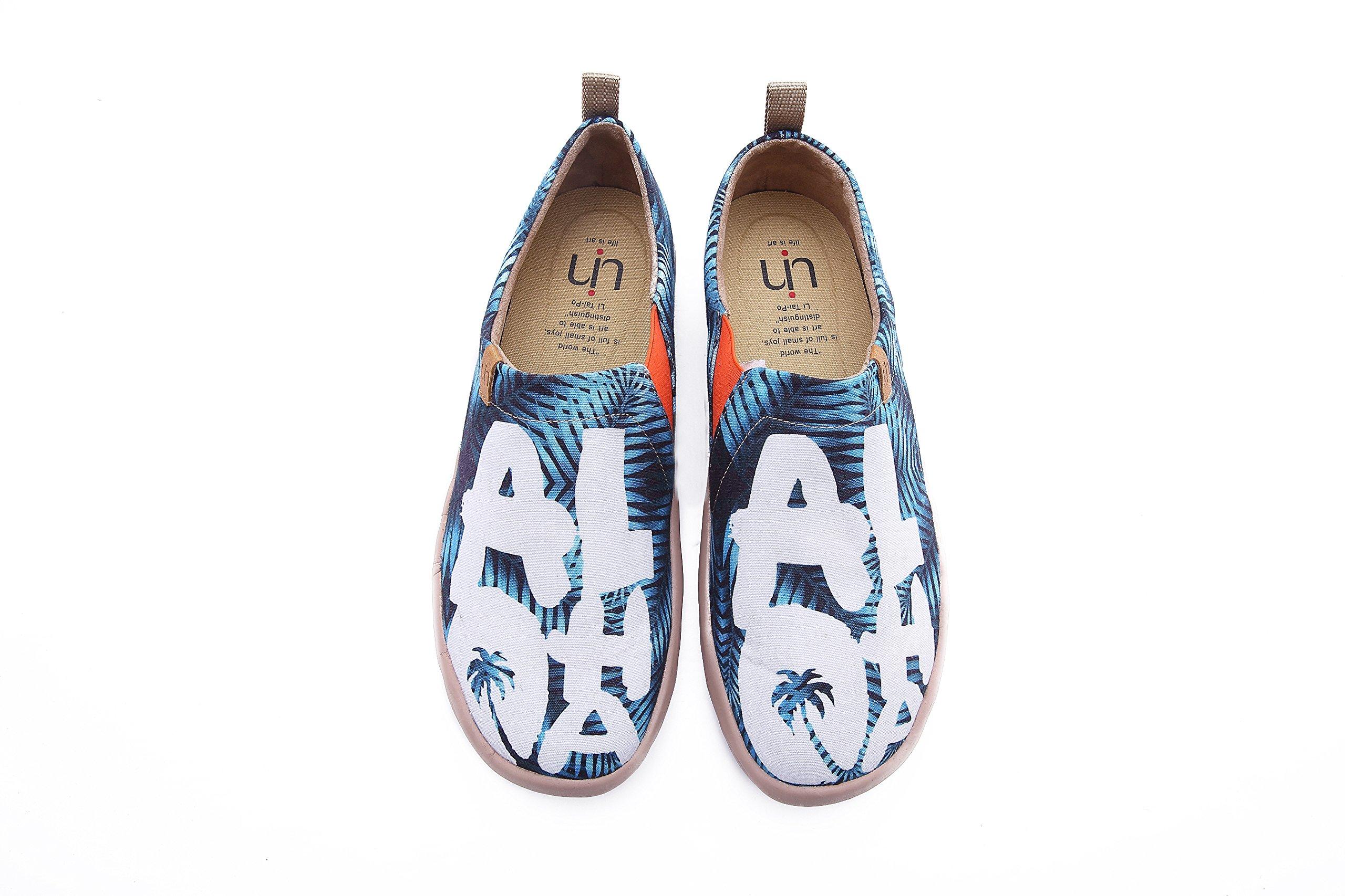 UIN Men's Aloha Canvas Travel Comfort Slip On Shoes Blue (8.5)