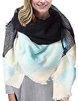 Grand Tartan Echarpe Mode Femme Plaid en Laine Tissu Glands Châle Oversize