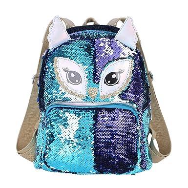 iixpin Mochila Lentejuelas Reversibles Niña Niño Mochila Unicornio Oso Búho Animal Brillante Mochila Escolar PU Cuero