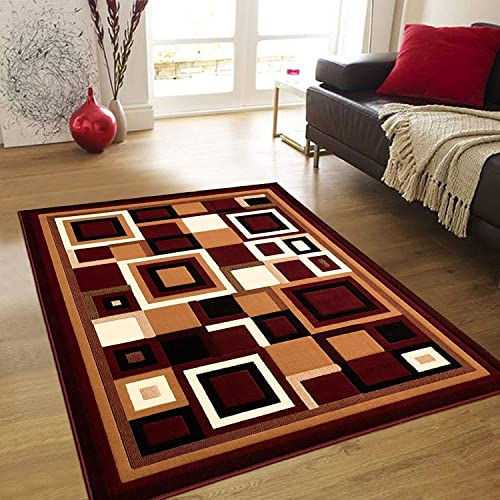Squares Modern Geometric Comfy Casual Hand Carved Area Rug Easy to Clean Stain Resistant Abstract Boxes Contemporary Thick Soft Plush Living Dining Room 8 Feet X 10 Feet, Burgundy
