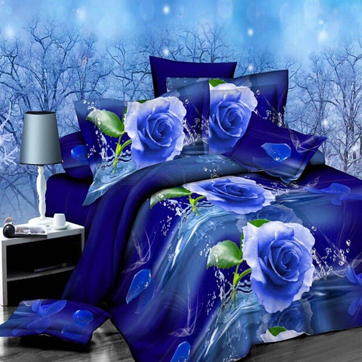 Juego de cama completo de 4 piezas con diseño de rosa azul con efecto 3D de Danke de 1,8 m (incluye 1 funda de edredón, 1 sábana bajera y 2 fundas de almohada)
