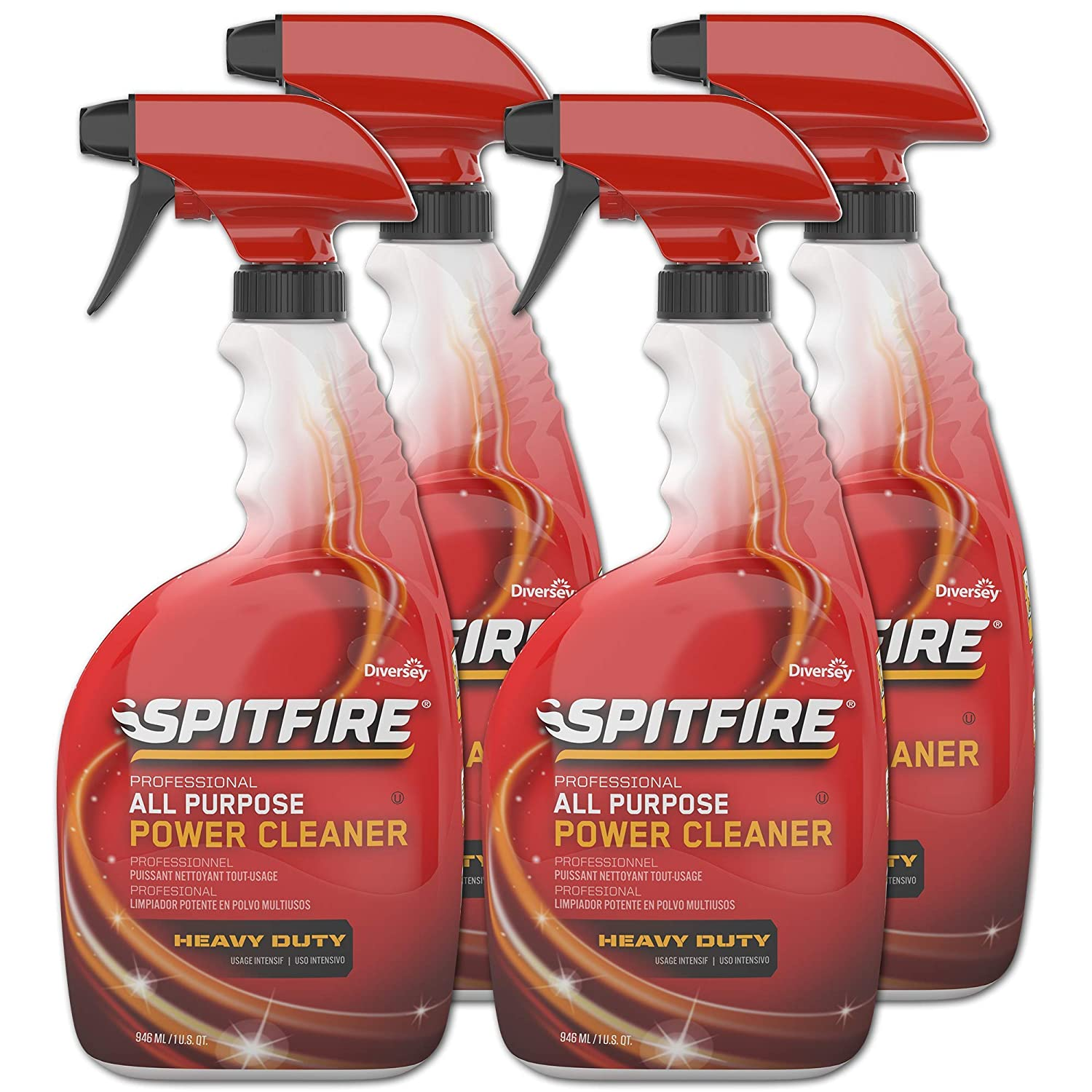 Diversey Spitfire Professional All Purpose Power, 32 Ounce Capped Spray Bottle (4 Pack) CBD540038