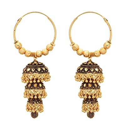 09aa11a22 Buy Shreyadzines Traditional Antique Gold Faux Pearl Jhumka Jhumki Bali  Earrings for Women and Girls Online at Low Prices in India | Amazon  Jewellery Store ...
