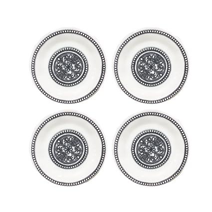 Set of 4 American Atelier 1184264-4S Medallion Salad Plate White 8 x 8