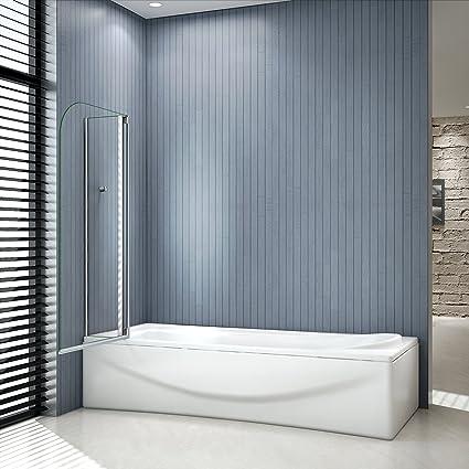 Mampara de ducha de 2 puertas para bañera de 100 x 140 cm, con ...