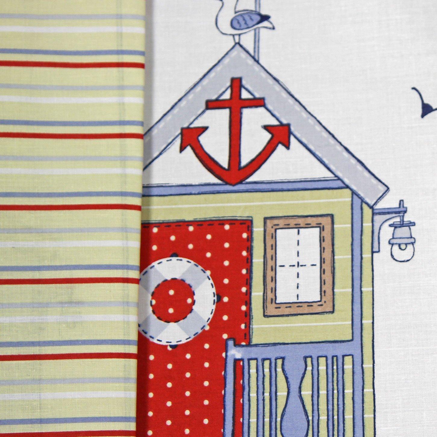 Just Contempo Cerca de la casa de la Playa Juego de Funda nórdica con Cuadros y Reversible de la Raya Azul Blanco Rojo con Color, algodón poliéster, ...