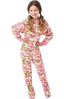 5fe7faab4 Amazon.com  Big Feet PJs Big Girls Kids Pink Fleece Footed Pajamas ...
