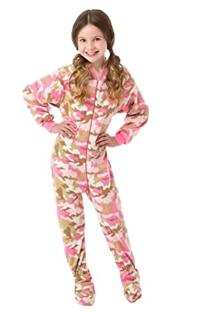 amazon com big feet pjs big girls pink camo kids footed pajamas