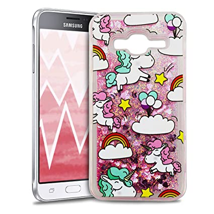 Anfire Funda para Samsung Galaxy J3 2016 Carcasa Glitter Silicona Brillo Estrellas Líquido Arenas Movedizas TPU Case Transparente Cubierta Caja ...