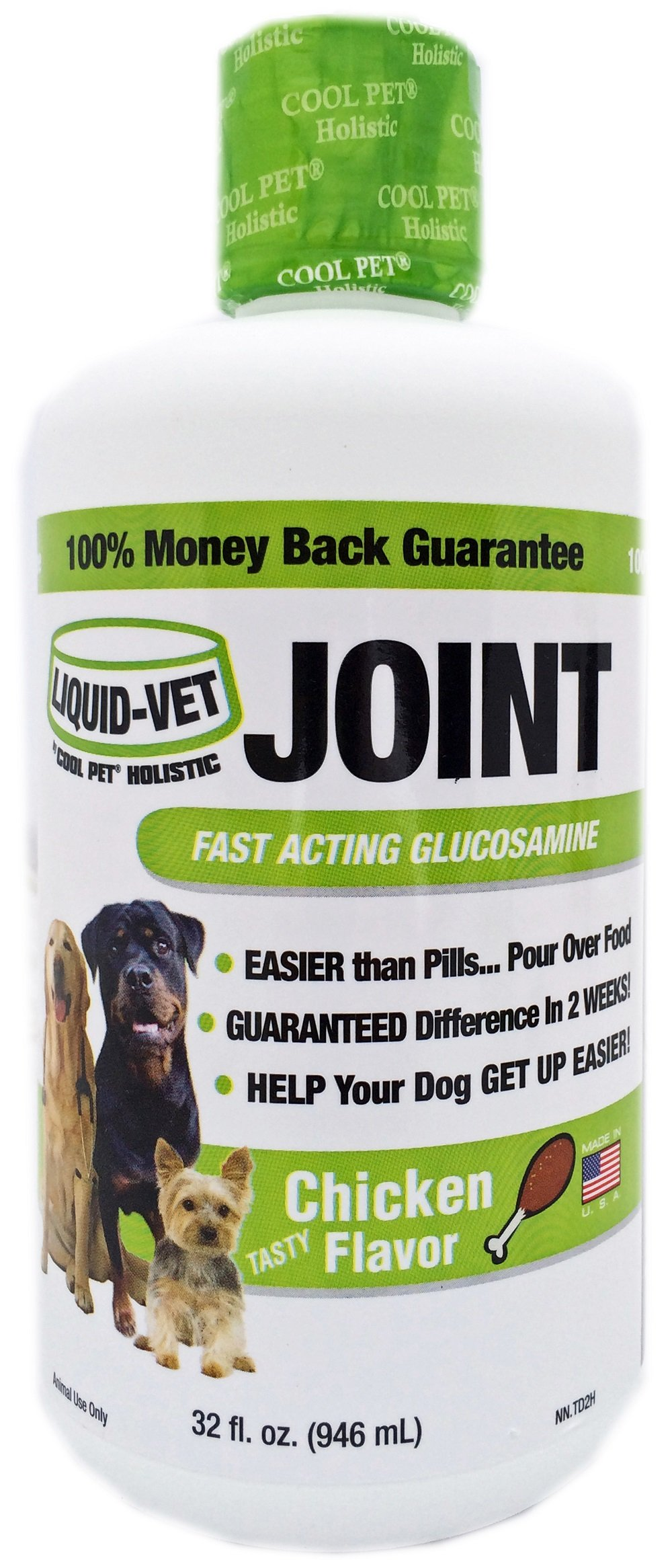 Liquid-Vet Dog Joint Formula – Fast Acting Glucosamine for Joint Aid in Canines – Chicken Flavor – Economy Size – 32 Fluid Ounces