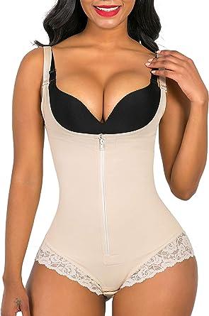 SHAPERX Shapewear for Women Tummy Control Fajas Colombianas Body Shaper  Zipper Open Bust Bodysuit - Beige - S: Amazon.co.uk: Clothing