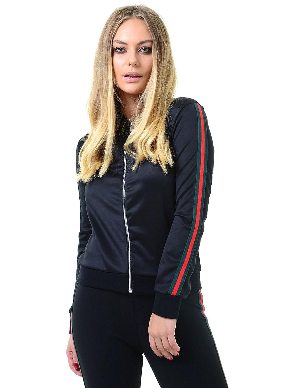 Trendy Womens Red/Green Stripe Zip Bomber Jacket.