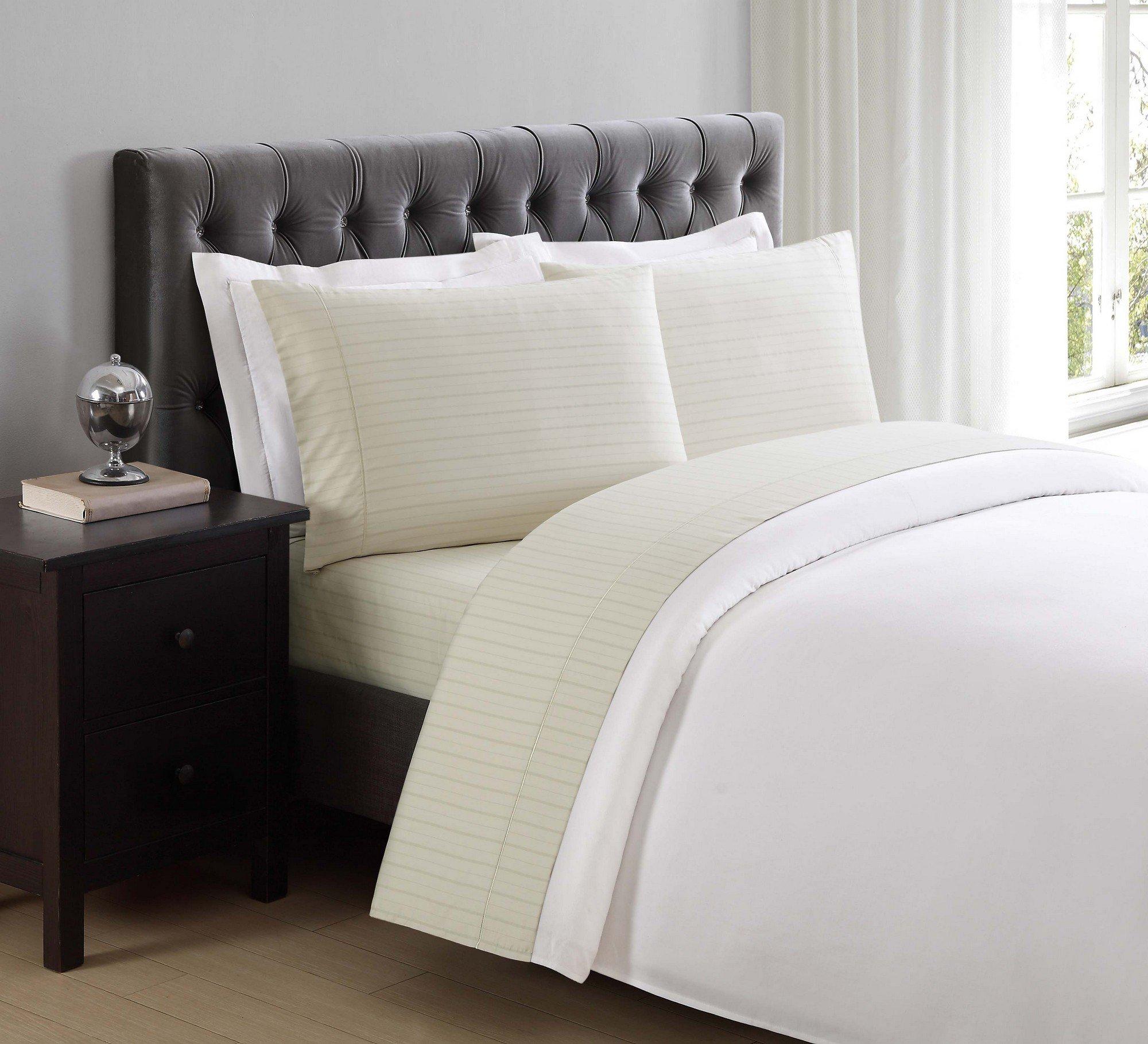 Charisma 310 Thread Count Classic Stripe Cotton Sateen Full Sheet Set in Almond Milk