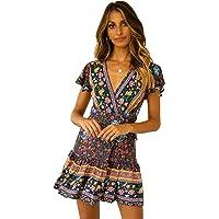 R.Vivimos Women Summer Short Sleeve Casual Bohemian Beach Ruffle Floral Print Bow Tie Short Sun Dress