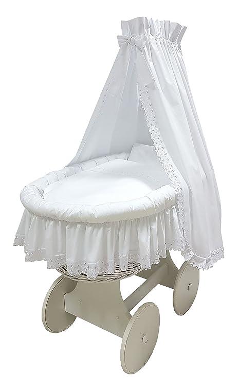 """Babymajawelt® Moisés Juego completo """"Romántico"""" Encaje - 10 piezas, incluye colchón"""