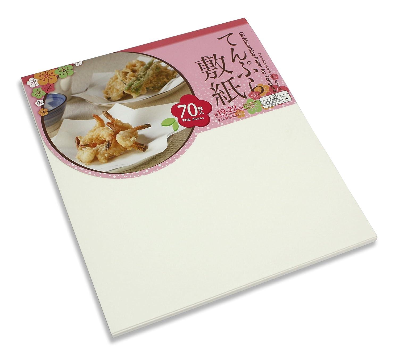 Oil Absorbing Paper for Tempura, 70 Sheet Pack, 19cm x 22cm Japan