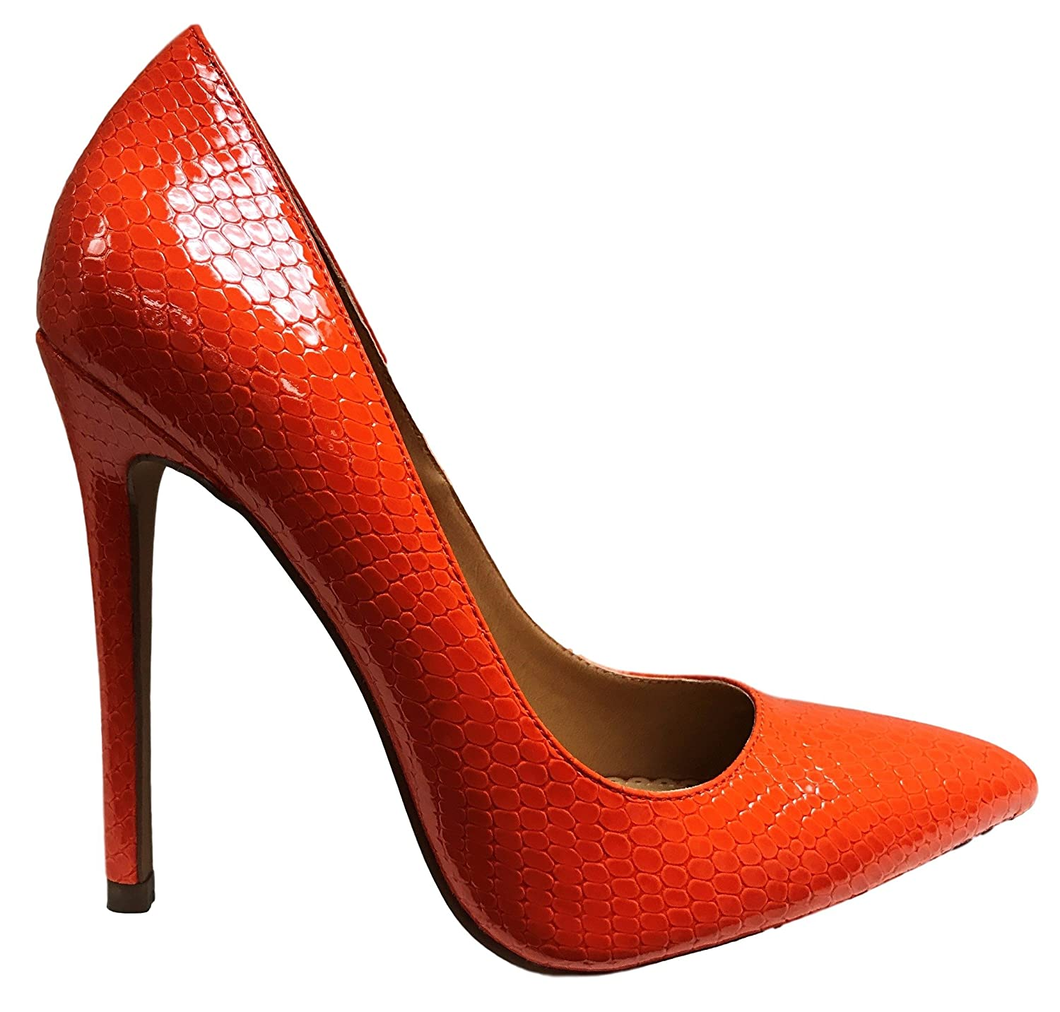 Shoe Republic Nimo Shiny Pointy Toe Stiletto High Heel Slip on Pump Shoes Orange