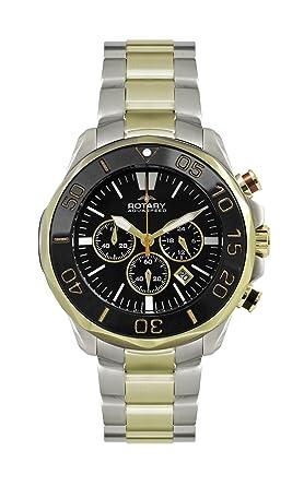 rotary men s quartz watch black dial chronograph display and rotary men s quartz watch black dial chronograph display and two tone stainless steel bracelet agb00067